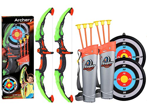 2 Pack Set Kids Archery Bow Arrow Toy Set with Targets, Suction Cup Arrows and Quiver, LED Light Up Function Toy for Boys Girls Indoor and Outdoor Garden Fun Game