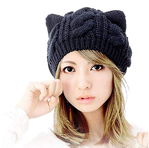 Product Image of the Amberetech Woollike Knitted Cat Kitty Ears Headgear Crochet Hats (Black)