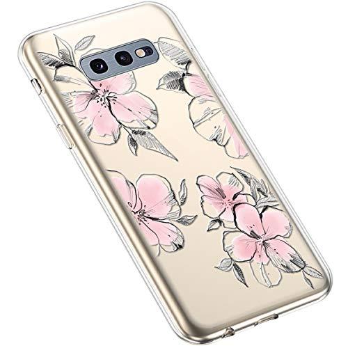 Uposao Compatibile con Samsung Galaxy S10e Creativo Trasparente con Fiore Floreale Motivo Disegni Morbida Silicone Ultra Sottile TPU Gel Custodia Protettiva per Donna,Fiori pastello