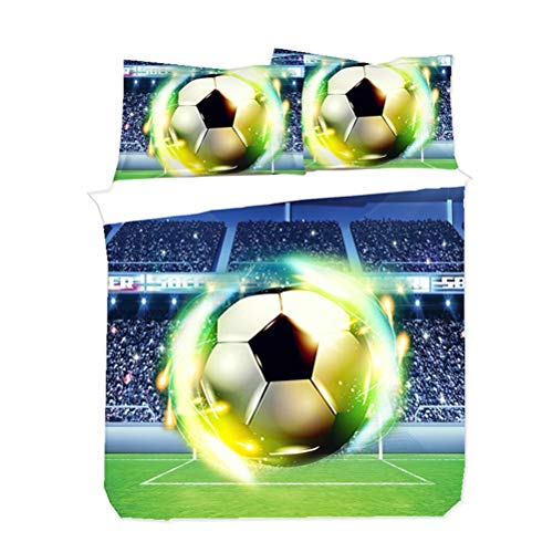 WENYA Ropa de Cama Infantil 3D Fútbol Baloncesto Adolescentes Chico Funda nórdica y Funda de Almohada Azul Negro Naranja Verde Funda de edredón Microfibra (Azul Verde, 150x200 cm - Cama 90 cm)