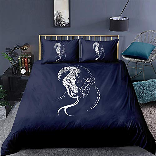 ZXXFR Duvet Cover Set Printed Simple animal snake,Bedding Quilt Cover Soft Breathable for Girls Boys 3 Pieces (1 Duvet Cover + 2 Pillow cases)-UK Super King 220x260CM
