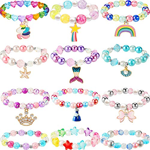 12 Pieces Unicorn Bracelet Mermaid Bracelet Princess Beaded Bracelets Rainbow Bracelets Girls Bow Bracelet Colorful Bracelet for Birthday Party Favors Pretend Play Bracelet (Bead Style)