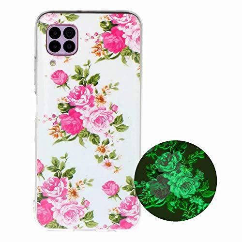 Miagon Leuchtend Luminous Hülle für Huawei P40 Lite,Fluoreszierend Licht im Dunkeln Handyhülle Silikon Case Handytasche Stoßfest Schutzhülle,Rose Blume