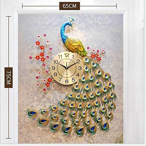 AISHANG Reloj de pared de pavo real, grande, de cuarzo, creativo, moderno, 3D, cristal de pavo, estilo europeo, para la vida, F, 65 x 75 cm