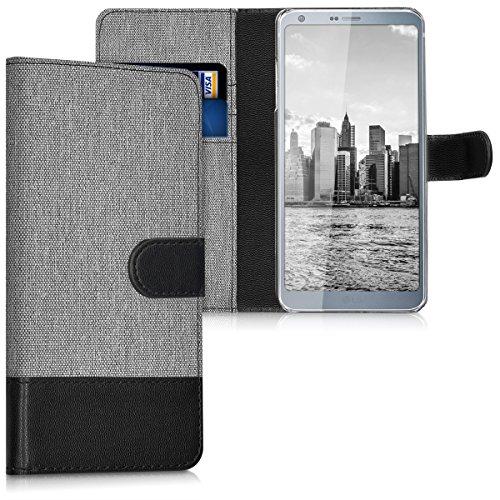 kwmobile Hülle kompatibel mit LG G6 - Kunstleder Wallet Hülle mit Kartenfächern Stand in Grau Schwarz