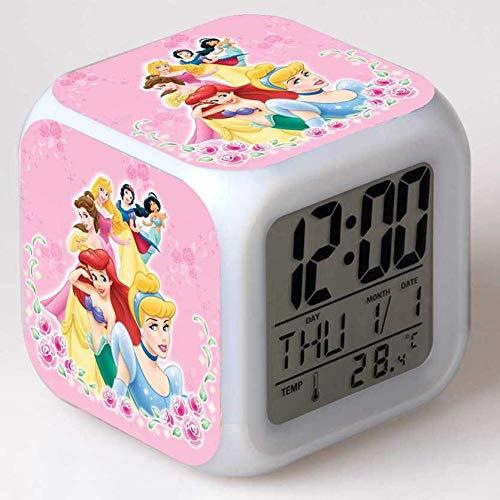 Superd Mesita de Noche para niños Reloj Despertador Digital LED luz de Noche Colorida Estado de ánimo Alarma Reloj Cuadrado Mudo con Puerto de Carga USB Viaje pequeño Reloj Despertador Regalo Q1298