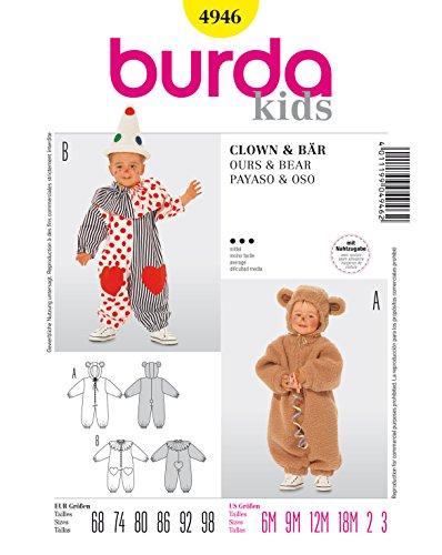 Burda 4946 Schnittmuster Kostüm Fasching Karneval Bär & Clown (Baby, Gr. 68-98) – Level 3 mittel