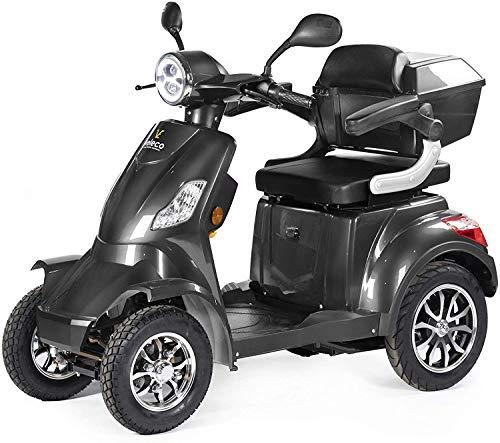 VELECO Scooter Elettrico 4 Ruote Disabili, Anziani 25km/h 1000W FASTER (Grigio)