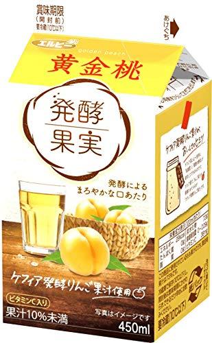 【冷蔵】エルビー 発酵果実 黄金桃 450mlX10本