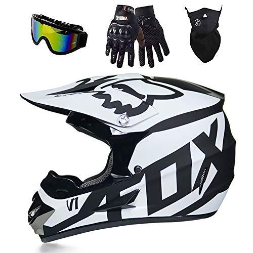 Casco de motocross completo para bicicleta de montaña con gafas, casco de...