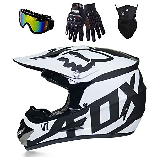 Fox Motocross-Helm, MX-Helm, Motorradhelm, ATV, mit Brille/Maske/Handschuhe,für Quad ATV Enduro Motorradhelm , DOT Zertifizierung (Weiß, L)