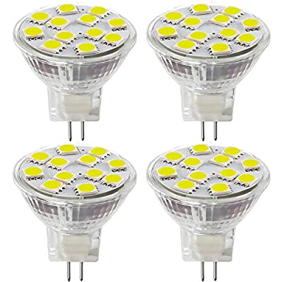 2.4W LED MR11 Light Bulbs, 12v 20w Halogen Replacement, GU4 Bi-Pin Base, Daylight White 4000K, Non-Dimmable, (Pack of 4)