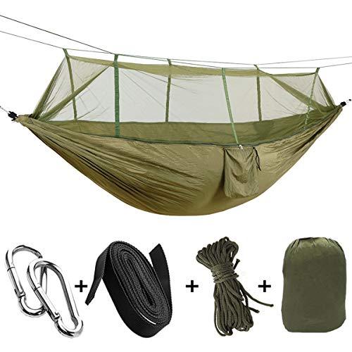 OhhGo Cama de Hamaca Colgante de Camping Al Aire Libre Portátil con Mosquitera para Dos Personas