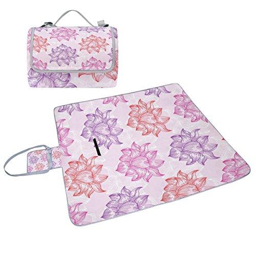 COOSUN Muster mit Lotus Blumen Picknick Decke Tote Handlich Matte Mehltau resistent und wasserfest Camping Matte für Picknicks, Strände, Wandern, Reisen, Rving und Ausflüge