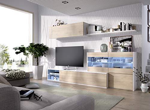 Muebles La Factoria - Composición Salón Modular Convertible en Mueble de rincón, Ancho 260 cm, en Blanco Brillo y Natural. Luces de Leds de Regalo