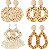 4 Pairs Rattan Earrings Lightweight Geometric Statement Tassel Woven Bohemian Earrings Handmade Straw Wicker Braid Hoop Drop Dangle Earrings For Women Girls (Style A)