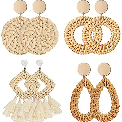 Rattan Earrings Bohemia Handmade Geometric Rattan Earrings Fashion Jewelry Vine Braid Drop Earrings for Women Summer 18