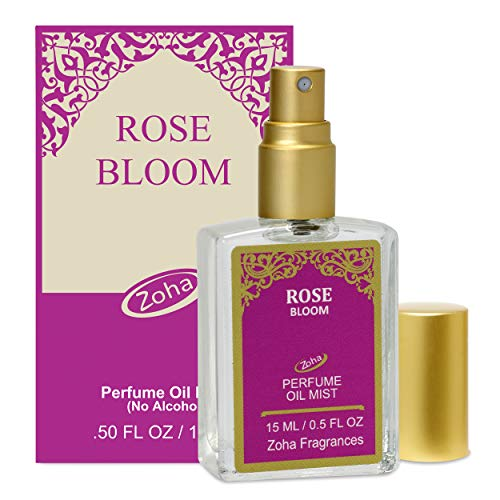 Rose Bloom Perfume Oil Mist (no alcohol spray) - Natural Organic Essential Oils and Hypoallergenic Vegan Perfumes for Women and Men by Zoha Fragrances, 15 ml / 0.50 fl Oz