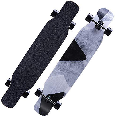 Longboard 118CM Pro Skateboard, Cruiser Trick Skateboard, Komplettes kanadisches Ahornholz, Schwarzes Longboard für Anfänger Erwachsene Teens Mädchen Jungen Kinder (Stein)