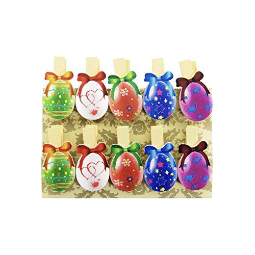 Oblique-Unique® Kleine Mini Holz Wäscheklammern Holzklammern Deko Klammern mit Motiv (Bunte Eier)