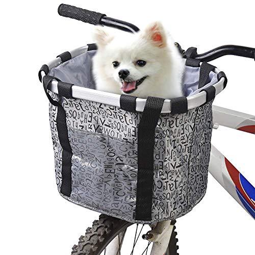 URBEST Bike Basket, Small Pets Cat Dog Folding Carrier,Removable Bicycle Handlebar Front Basket,...
