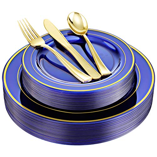 BUCLA 30Guest Clear Blue Plastic Plates With Gold Rim&Disposable Gold Plastic Silverware -Blue And Gold Disposable Dinnerware For Wedding&Parties Special for Bridal Shower
