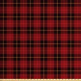 Lunarable Plaid Fabric by The Yard, Scottish Tartan with Traditional Colors Vintage Country Style, Decorative Fabric for Upholstery and Home Accents, 1 Yard, Brown Mustard
