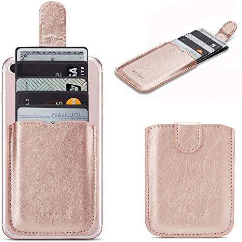 Phone Card Holder RFID Blocking Sleeve, Pu Leather Back Phone Wallet Stick-On Pull up 5 Card Holder Universally Pocket Covers Credit Cards Cash for iPhone /Android/Samsung/All Smartphones(RoseGold)