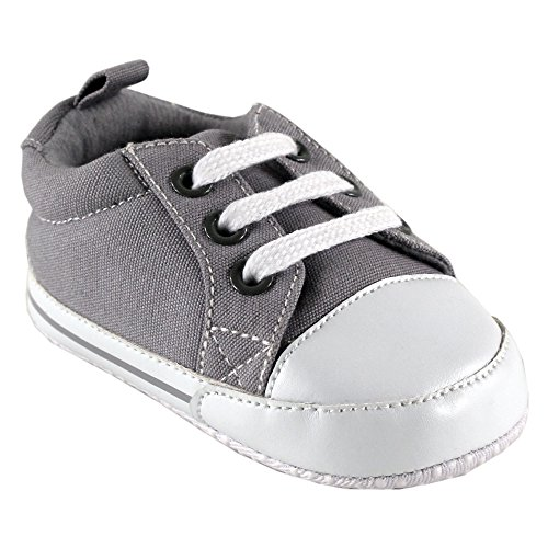 Luvable Friends Unisex Baby Crib Shoes, Gray Canvas, 0-6 Months