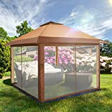OUTDOOR LIVING SUNTIME Instant Pop Up Patio Gazebo with Full Netting for Family Parties and Outdoor Activities(Netting Sidewalls)