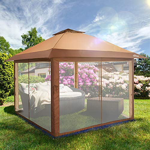 OUTDOOR LIVING SUNTIME Instant Pop Up Patio Gazebo with Full Netting for Family Parties and Outdoor...