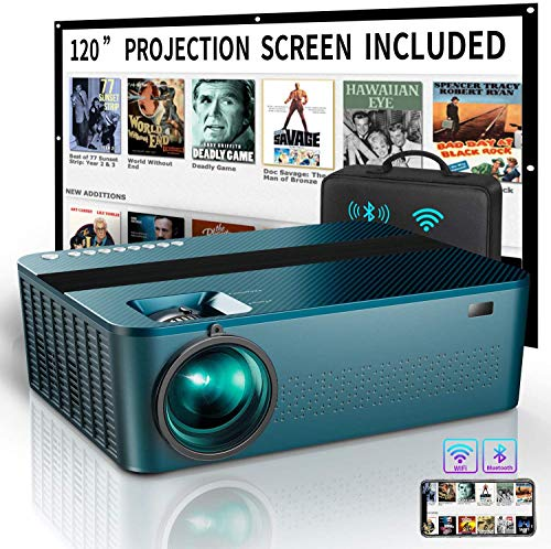 """WIFI Native 1080P Projector with 120"""" Projector Screen &Bag,7500Lux HD Bluetooth Projector with 400""""Display,4K Projector for Outdoor Movies Support 4K Dolby & Zoom,Compatible with Phone,PC,TV Box,PS4"""