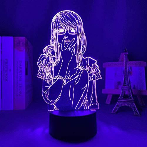 GEZHF 3D ilusión anime lámpara led noche el millonario detective balance ilimitado para decoración de dormitorio regalo Fugou Keiji equilibrio luz Haru Kato-control remoto control táctil