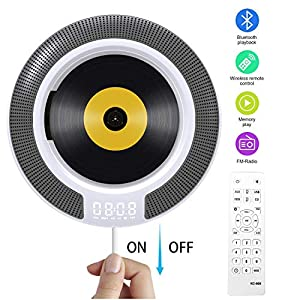 Portable CD Player with Bluetooth, Wall Mountable CD Music Player Home Audio Boombox with Remote Control FM Radio Built-in HiFi Speakers, MP3 Headphone Jack AUX Input Output (White)