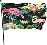 Oaqueen Flagge/Fahne Tropical Flamingo Banana Leaf Fahnen Flaggen Durable Fade Resistant Decorative Flags Premium Flag with Grommets Polyester Outdoor Banner for All Seasons & Holidays- 3X5...