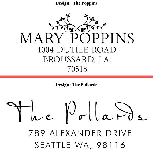 20 Designs to Choose!! Personalized - Address Stamp - Customized Stamp - Self-Inking Return Address Mail 3 Lines Custom Address Stamper - Black Red Blue Purple Green Ink - Wedding Invitation Stamp Photo #6