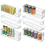 mDesign Plastic Stackable Kitchen Pantry Cabinet, Refrigerator or Freezer Food Storage Bins with Handles - Organizer for Fruit, Yogurt, Snacks, Pasta - BPA Free, 16' Long, 6 Pack - Clear