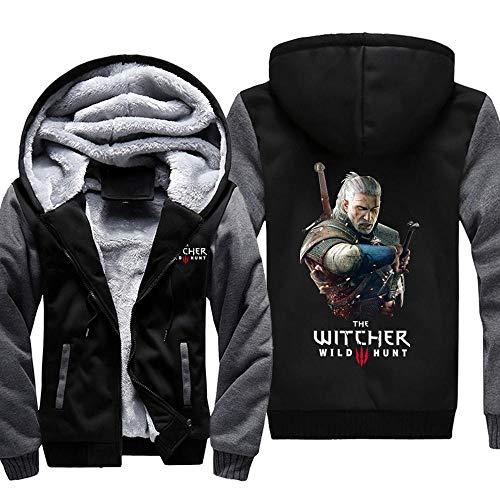 THICKEN Winter Plus Velvet Hoodie The Witcher Geralt Hunter Jacke Dicke Strickjacke Mit Kapuze Warme Pullover Tops 1- XXL