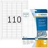 HERMA Etichette Staccabili, 38,1 x 12,7 mm, Etichette Adesive A4 per Stampante, 110 Etiche...