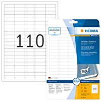 HERMA 4210 38.1x12.7mm Movables Colour Laser Paper Removable Rectangular Labels - Matte White (2750 Labels, 110 per Sheet)
