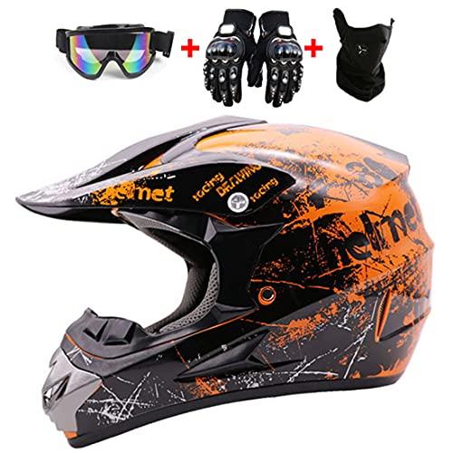 Casco de moto de motocross, conjunto de casco de MTB de cara completa para niños y adultos, casco todoterreno, casco de motocicleta DH, para descenso, quad, enduro, carreras, MX, ATV, DOT