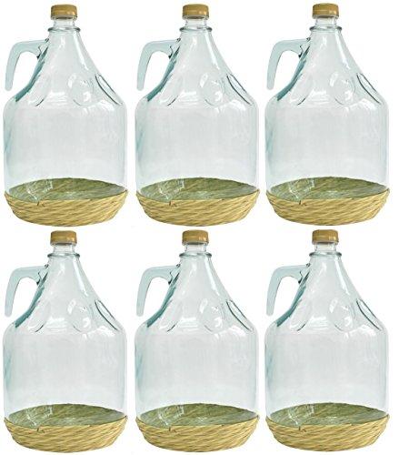 BDO5Z Set di 6 damigiane di vetro in stile italiano, 5 l