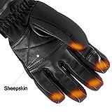 Savior beheizte Handschuhe für Männer und Frauen, Palm Lederhandschuhe für Winterski und Eislaufen , Arthritis Handschuhe und 7.4V 2200 Mah Elektrische wiederaufladbare Batterien Handschuhe (Schwarz) - 7