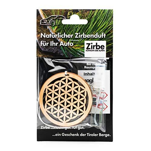 sagl.tirol holzmanufaktur Ambientador natural para coche, de madera de pino cembro, incluye 5 ml de perfume para habitación, flor de la vida