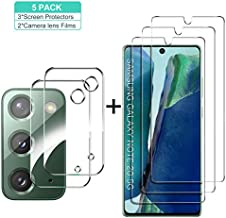 GESMA for Samsung Galaxy Note 20 Screen Protector and Camera Protector, [3 Screen Protectors+2 Camera Protectors][Support Fingerprint] Tempered Glass Screen Protector for Samsung Galaxy Note20 5G/4G(Clear)