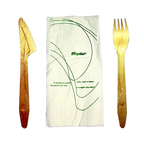 Lot de 50 couteaux et fourchettes en bois + Serviette, couverts biodégradables et compostables emballés