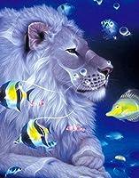 大人と子供が動物のライオンを数字で描く(16 * 20インチ、フレーム付き)DIYオイルペインティングギフトセット、印刷済みキャンバスアーティストの家の装飾