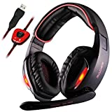 SADES SA902 Gaming Headset Kopfhörer Stereo Surround Over-Ear-Kopfhörer, 7.1 Kanal USB Verdrahtet mit Mic Volume Control LED Licht