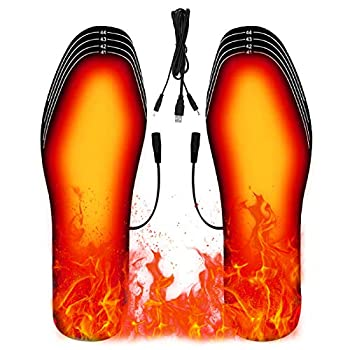 Heated Insoles Rechargeable Heated Insoles for Women Men Washable Free to Cut USB Electric Foot Warmers Insoles for Outdoor Hunting Hiking Skiing  Size 8-12/41-45