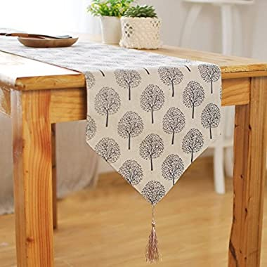 Aothpher 12 inch by 55 inch Rustic Tree Table Runner Cotton Linen Pattern Washable Floral Tree Grey with Tassel